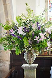Church flower arrangement. Altar showing finished flowers