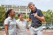 (l-r) Dr Phathokuhle Zondi (incoming Managing Director of the Sports Science Institute of SA (SSISA)), Prof Vicki Lambert (head of UCT Division of Exercise Science and Sports Medicine), Morne du Plessis (outgoing Managing Director of the SSISA). Image by Greg Beadle