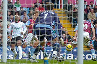 Photo: Glyn Thomas.<br />Aston Villa v Liverpool. The Barclays Premiership. <br />05/11/2005.<br />Liverpool's Djibril Cisse (L) sends the ball in front of the Aston Villa goal, but none his teammates can take advantage of the chance.