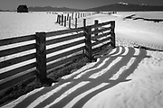 Fence on field in southern Oregon in the winter