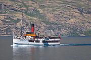 Steamer SS Earnslaw cruising on Lake Wakatipu, near Queenstown, New Zealand.