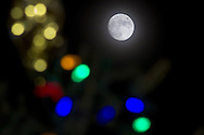 Middletown, New York The nearly full moon shines behind the Christmas tree at Festival Square on Dec. 4, 2014. The waxing gibbous moon was 98 percent illuminated. The full  moon is Dec. 6.