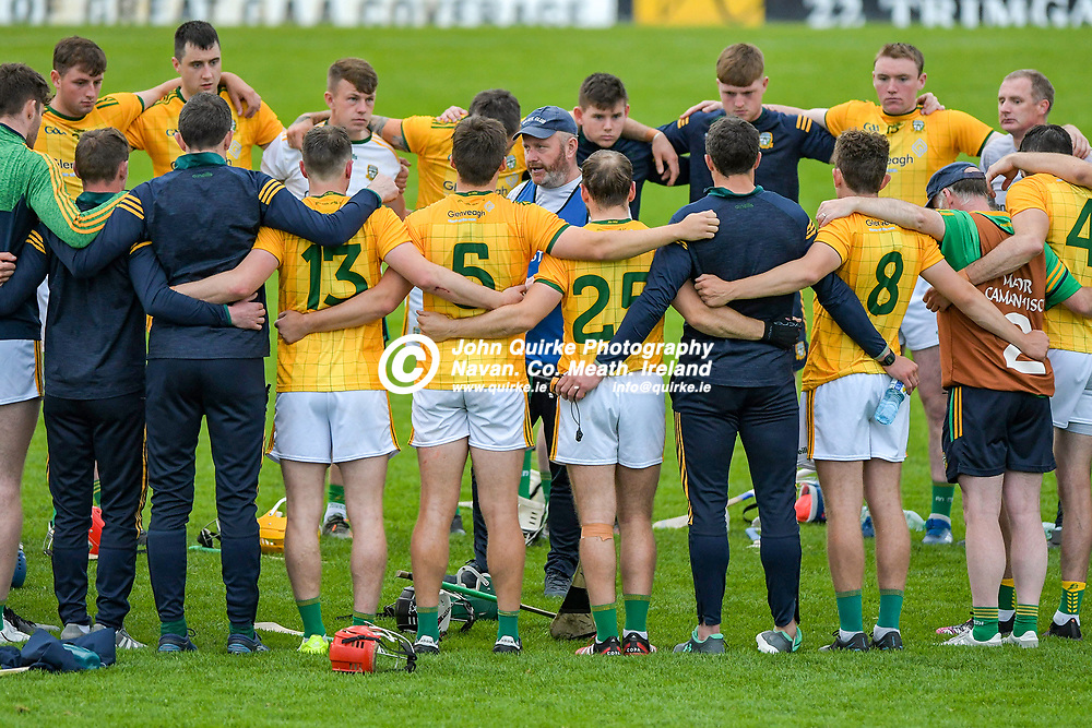 Meath hurling manager Nick Weir, talks to players after the Meath v Kerry,  Joe McDonagh Cup match at Pairc Tailteann, Navan.<br /> <br /> Photo: GERRY SHANAHAN-WWW.QUIRKE.IE<br /> <br /> 10-07-2021