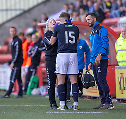 Airdrie psyshio helps out Raith Rovers Kevin Nisbet injured. Airdrie 3 v 4 Raith Rovers, Scottish Football League Division One played 25/8/2018 at the Excelsior Stadium.
