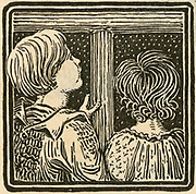 Children looking out of the window at the stars. Engraving, 1891.