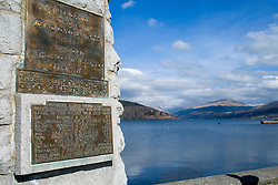 "Inveraray war memorial on Inveraray green overlooking Loch Fyne. Built in the 1920's it is topped by a bronze statue of a Highland Infantryman, sculpted by Kellock Brown. A large bronze plaque on the front of the memorial states ""In Memory Of Those Young Loved Lamented Here Who Died In Their Country's Service 1914-1918""  and the left and right sides of the memorial carry bronze plaques with the names of the men killed during the First World War. The men who died in the Second World War are remembered on bronze plate embedded in stone which was added below the main inscription on the front. <br /> <br /> 06 April  2015<br /> Image © Paul David Drabble <br /> www.pauldaviddrabble.co.uk<br /> www.facebook.com/pauldaviddrabblephotography"