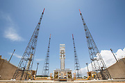Mcc0084404 . Daily Telegraph<br /> <br /> Aeolus Satellite Launch<br /> <br /> The Ariane 5 launch pad getting ready for it's 100th launch at the European Space Centre in French Guiana .<br />  . <br /> The Aeolus Satellite, designed and built by Airbus contains pioneering technology that will monitor winds around the globe that will change weather forecasting forever .<br /> <br /> Kourou, French Guiana 21 August 2018
