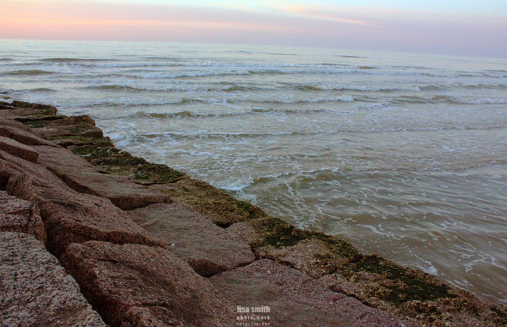 Galveston Texas beach at sunrise