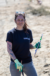 15JUL21 Lin Cooper. The Marine Conservation Society launching it's big beach clean up volunteer call at Cramond beach this morning.