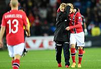 Fotball<br /> UEFA Euro 2016 Matchday 3<br /> Norge v Bulgaria / Norway v Bulgaria 2:1<br /> 13.10.2014<br /> Foto: Morten Olsen, Digitalsport<br /> <br /> Mats Møller Dæhli (20) - Cardiff / NOR<br /> <br /> Martin Ødegaard (9) - Strømsgodset / NOR<br /> Became the youngest ever player to participate in an EURO game 15 years 301 days