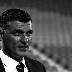 BRISBANE, AUSTRALIA - APRIL 21: Brisbane Roar coach John Aloisi looks on during the Hyundai A-League Elimination Final match between the Brisbane Roar and Western Sydney Wanderers at Suncorp Stadium on April 21, 2017 in Brisbane, Australia. (Photo by Patrick Kearney/Brisbane Roar)