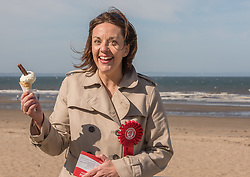 Scottish Labour leader Kezia Dugdale joined local Labour council candidate Maureen Child and party activists for some last minute campaigning on Portobello Prom Pictured: Kezia Dugdale<br /> <br /> <br /> © Jon Davey/ EEm