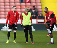 Caolan Lavery, Mark Duffy and Leon Clarke of Sheffield Utd during the English League One match at Bramall Lane Stadium, Sheffield. Picture date: December 26th, 2016. Pic Simon Bellis/Sportimage