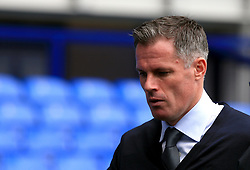 """Football pundit Jamie Carragher prior to the Premier League match at Goodison Park, Liverpool. PRESS ASSOCIATION Photo. Picture date: Sunday September 16, 2018. See PA story SOCCER Everton. Photo credit should read: Peter Byrne/PA Wire. RESTRICTIONS: EDITORIAL USE ONLY No use with unauthorised audio, video, data, fixture lists, club/league logos or """"live"""" services. Online in-match use limited to 120 images, no video emulation. No use in betting, games or single club/league/player publications."""