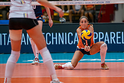 02-08-2019 ITA: FIVB Tokyo Volleyball Qualification 2019 / Belgium - Netherlands, Catania<br /> 1e match pool F in hall Pala Catania between Belgium - Netherlands. Netherlands win 3-0 / Myrthe Schoot #9 of Netherlands
