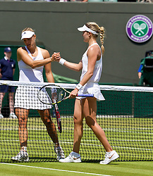 02.07.2014, All England Lawn Tennis Club, London, ENG, WTA Tour, Wimbledon, im Bild Eugenie Bouchard (CAN) [R] shakes hands with Angelique Kerber (GER) after the Ladies' Singles Quarter-Final match on day nine // during the Wimbledon Championships at the All England Lawn Tennis Club in London, Great Britain on 2014/07/02. EXPA Pictures © 2014, PhotoCredit: EXPA/ Propagandaphoto/ David Rawcliffe<br /> <br /> *****ATTENTION - OUT of ENG, GBR*****