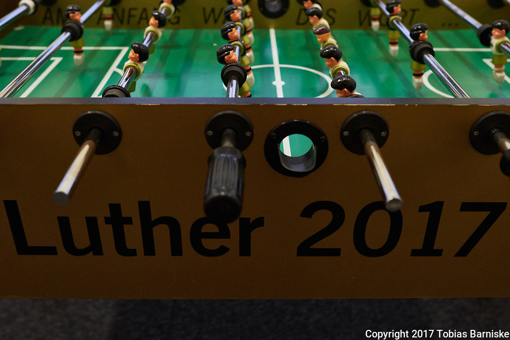 """Tabletop soccer at the press center in Berlin. The print on the corpus pays respect to 500 years of reformation by naming """"Luther 2017""""."""