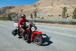 Jeff Lauritsen riding his 1934 Harley-Davidson VLD during Stage 14 - (284 miles) of the Motorcycle Cannonball Cross-Country Endurance Run, which on this day ran from Meridian to Lewiston, Idaho, USA. Friday, September 19, 2014.  Photography ©2014 Michael Lichter.