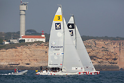 Peter Gilmour leads Torvar Mirsky in the finals of Portimao Portugal Match Cup 2010. World Match Racing Tour. Portimao, Portugal. 27 June 2010. Photo: Gareth Cooke/Subzero Images