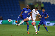 Loic Damour of Cardiff city (l) is challenged by Kalvin Phillips of Leeds Utd (r). EFL Skybet championship match, Cardiff city v Leeds Utd at the Cardiff city stadium in Cardiff, South Wales on Tuesday 26th September 2017.<br /> pic by Andrew Orchard, Andrew Orchard sports photography.
