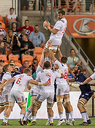 June 16, 2018 - Houston, Texas, US - USA Men's Rugby Team lock Nick Civetta (5) catches the line out during the Emirates Summer Series 2018 match between USA Men's Team vs Scotland Men's Team at BBVA Compass Stadium, Houston, Texas (Credit Image: © Maria Lysaker via ZUMA Wire)