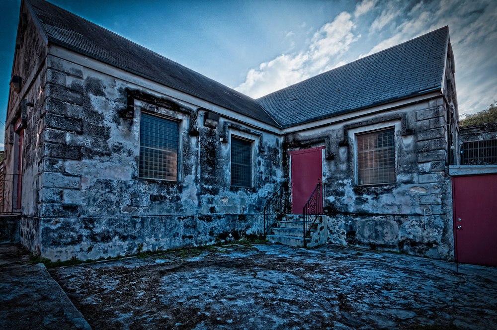 Histotic side building at St. Mary the Virgin Anglican Church. This church, said to be the oldest church in The Bahamas, is thought to have been built by the Spanish in the 1600's.
