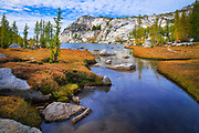 Creek entering Perfection Lake in the Enchantment Lakes area of Alpine Lakes Wilderness, Washington