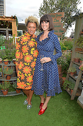 Left to right, GEMMA CAIRNEY and DAWN O'PORTER at a vintage fashion pop-up evening hosted by Dawn O'Porter at The Gardening Society, John Lewis, Oxford Street on 27th July 2016.