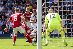 Brendan Galloway of West Bromwich Albion pulls his shot across goal - Rogan Thomson/JMP - 28/08/2016 - FOOTBALL - The Hawthornes - West Bromwich, England - West Bromwich Albion v Middlesbrough - Premier League.