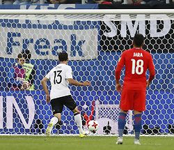 July 3, 2017 - Saint Petersburg, Russia - Lars Stindl (L) of Germany national team scores during FIFA Confederations Cup Russia 2017 final match between Chile and Germany at Saint Petersburg Stadium on July 2, 2017 in Saint Petersburg, Russia. (Credit Image: © Mike Kireev/NurPhoto via ZUMA Press)