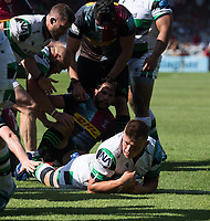 Rugby Union -2020/2021 Gallagher Premiership - Round 22 -<br />Harlequins vs Newcastle Falcons - The Stoop<br /><br />Newcastle Falcons Jamie Blamire puts down a Try for Newcastle Falcons