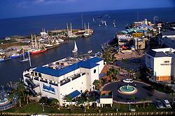 Aerial view of the Kemah boardwalk and aquarium