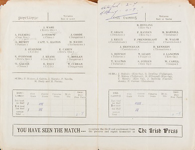 All Ireland Senior Hurling Championship - Semi-final, .03101948AISHCSF.03.10.1948, 10.03.1948, 3rd October 1948,.Waterford v Kilkenny, ..Waterford, J Ware, Erin's Own, A Fleming, Cnoc Sion, J Cusack, Clonea, J Goode, Dungarvan, M Hickey, Portlaw, Capt V Baston, M Hayes, Butlerstown, J O'Connor, UCD, E Carew, Erin's Own, K O'Connor, Erin's Own, J Keane, Cnoc Sion, C Moylan, Dungarvan, W Galvin, Clonea, E Daly, UCD, T Curran, Dungarvan, Subs, P Waters, J Galvin, J Murphy, P Neville, M Healy, M Feeney, ..Kilkenny, R Dowling, Eire Og, P Grace, Dicksboro, P Hayden, Eire Og, M Marnell, Tullaroan, J Kelly, Carrickshock, P Prendergast, Thomastown, W Walsh, Carrickshock, J Heffernan, Carrickshock, D Kennedy, Thomastown, S Downey, Tullaroan, T Leahy, Faugh's, J Langton, Eire Og, T Walton, Tullaroan, S O'Brien, Eire Og, W Cahill, Graigue, Subs, J Mulcahy, Eire Og, R Dowling, Tullaroan, P Malone, Tullaroan, M O'Donnell, Eire Og, T Murphy, Eire Og, J McBride, Carrickshock, P Garvan, Dicksboro, ..