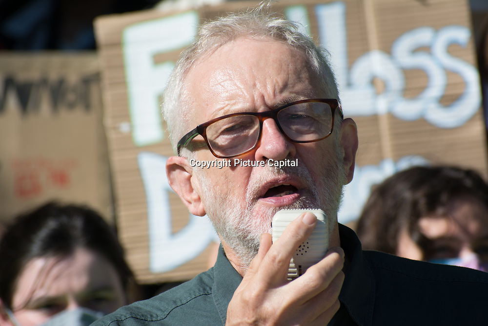 Speaker Jeremy Corbyn at the Global Climate Change, Parliament square, London, UK on 23rd September 2021.
