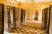 30 JANUARY 2013 - PHNOM PENH, CAMBODIA:  A high school classroom divided into prison cells by the Khmer Rouge at the Toul Sleng Genocide Museum. The Tuol Sleng Genocide Museum is in Phnom Penh. It is a former high school that was used as the Security Prison 21 (S-21) by the Khmer Rouge from 1975 to 1979. It was used to torture and execute Cambodians and foreigners the Khmer Rouge thought were opposed to the regime.     PHOTO BY JACK KURTZ
