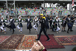 April 29, 2018 - Baku, Azerbaijan - Motorsports: World Championship; 2018; Grand Prix Azerbaijan, Grand Prix of Europe, Formula 1 2018 Azerbaijan Grand Prix, .Traditional Dancers#27 Nico Hülkenberg (Renault Sport F1 Team) (Credit Image: © Hoch Zwei via ZUMA Wire)