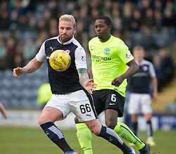 Raith Rovers Ryan Stevenson and Hibernian's Marvin Bartley. halt time : Raith Rovers 0 v 0 Hibernian, Scottish Championship game played 18/2/2017 at Starks Park.