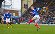 Portsmouth midfielder Jed Wallace shoots at goal during the Sky Bet League 2 match between Portsmouth and Shrewsbury Town at Fratton Park, Portsmouth, England on 28 March 2015. Photo by Phil Duncan.