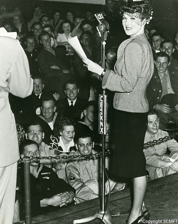 1944 Jean Parker during a radio broadcast from the Hollywood Canteen.