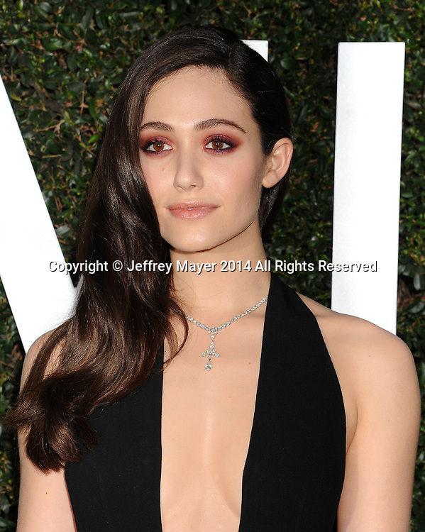 BEVERLY HILLS, CA- OCTOBER 02: Actress Emmy Rossum arrives at the Michael Kors Hosts Launch Of Claiborne Swanson Frank's 'Young Hollywood' Portrait Book at a private residence on October 2, 2014 in Beverly Hills, California.