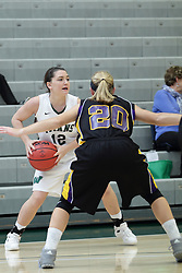 12 December 2015:  Amanda Kelly looks to pass away from Lauren Anklam during an NCAA women's basketball game between the Wisconsin Stevens Point Pointers and the Illinois Wesleyan Titans in Shirk Center, Bloomington IL