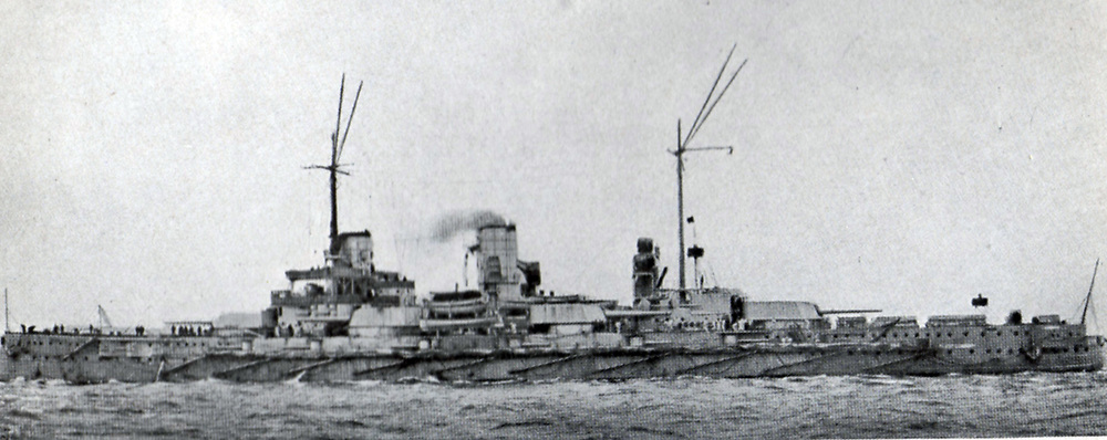 German battleship 'Nassau' in commission with the Imperial German Navy 1909-1919. She was present at the Battle of Jutland. Nassau class ships were built in response to the  British Dreadnought class.