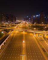 Aerial view of empty streets due to the coronavirus pandemic in Dubai, United Arab Emirates