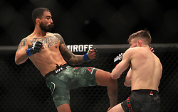 Nathaniel Wood (right) and Jose Quinonez in action during their Bantamweight bout during UFC Fight Night 147 at The O2 Arena, London.