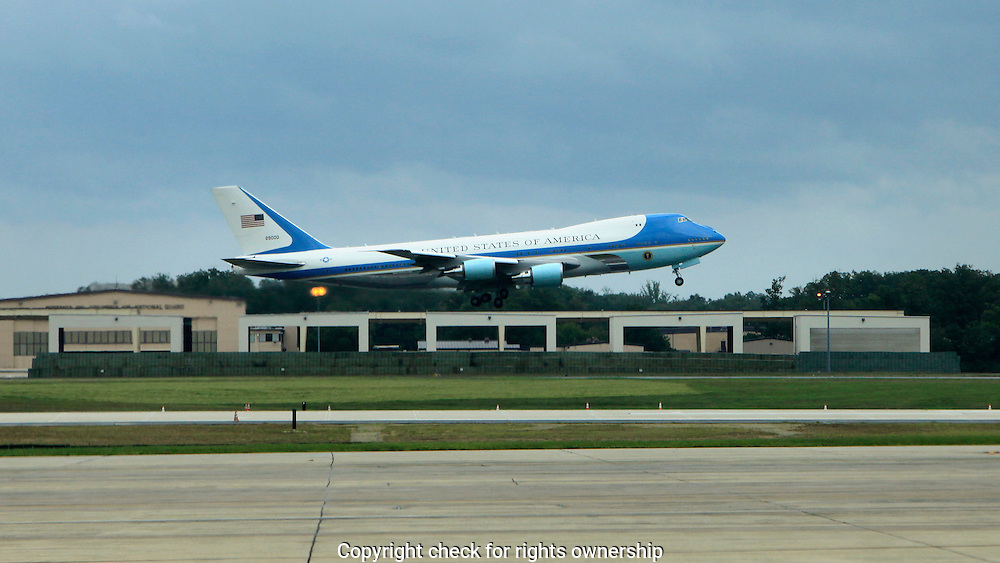Air Force One prepares to take off at Andrews Air Force Base
