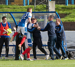 Cowdenbeath's Greg Stewart celebrates after scoring their goal with the bench.<br /> Cowdenbeath 1 v 0 Falkirk, 14/9/2013.<br /> ©Michael Schofield.