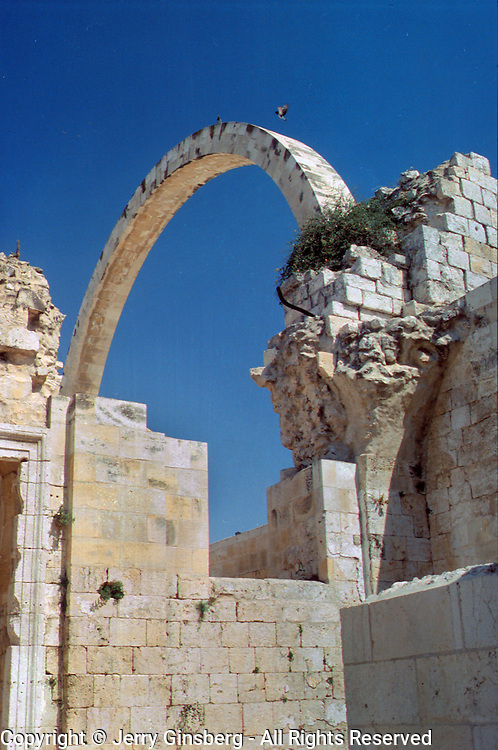 Blown up in 1948, this single remnant recalls the synagogue that once stood on this site in the Old City, Jerusalem, Israel
