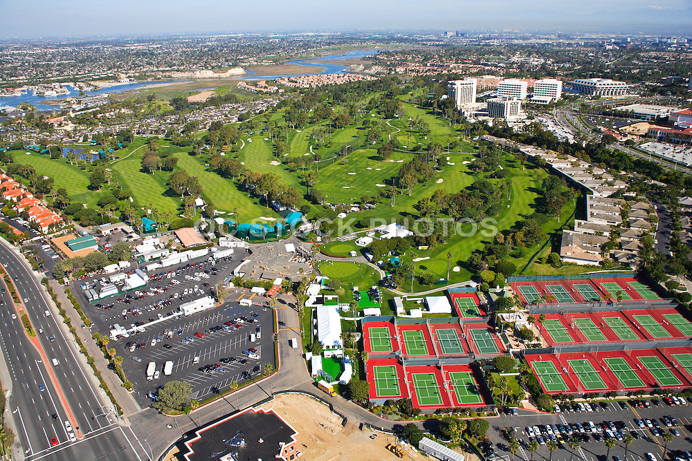 Aerial Stock Photo over The Tennis Club of Newport Beach and the Newport Beach Country Club