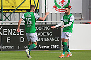 GOAL 1-2 Kevin Nisbet (15) of Hibernian scores a goal 1-2 and celebrates, celebration during the Betfred Scottish League Cup match between Cove Rangers and Hibernian at Balmoral Stadium, Aberdeen, Scotland on 10 October 2020.
