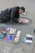 A male street artisit outside the National Gallery in Trafalgar Square on the 7th February 2019 in Central London in the United Kingdom.